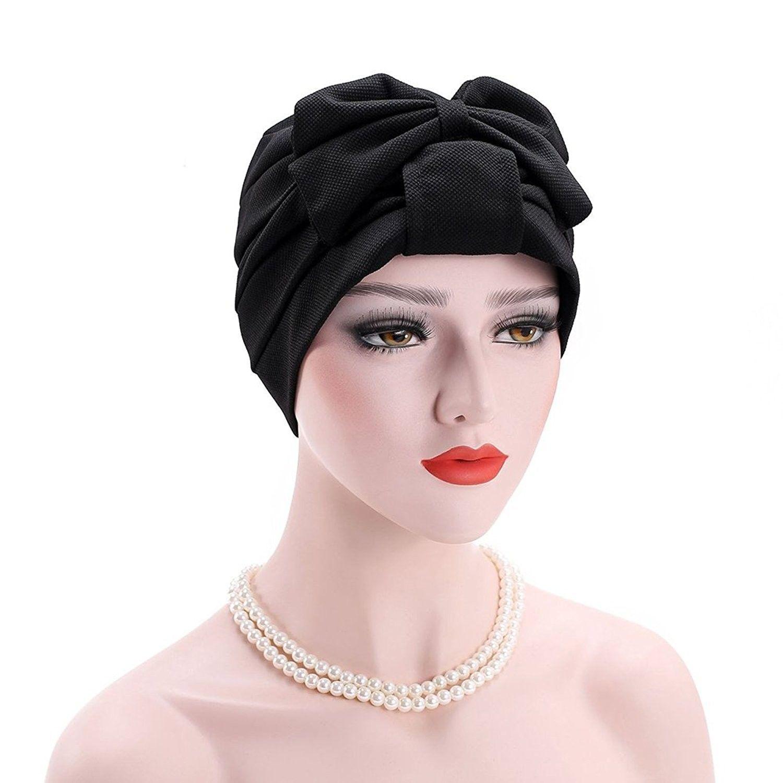 fd361a87d73 Bowknot Muslim Hijab Cap Stretch Chemo Turban Hat Women Solid Color Head  Scarf - Black - CZ187WRZHQ4 - Scarves   Wraps