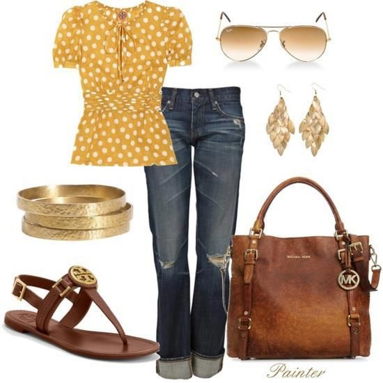 love yellow polka dot w/washed, ripped jeans. the gold and leather accessories are perfect!