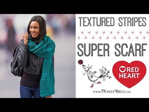 How to Knit the Textured Stripes Super Scarf | Red Heart