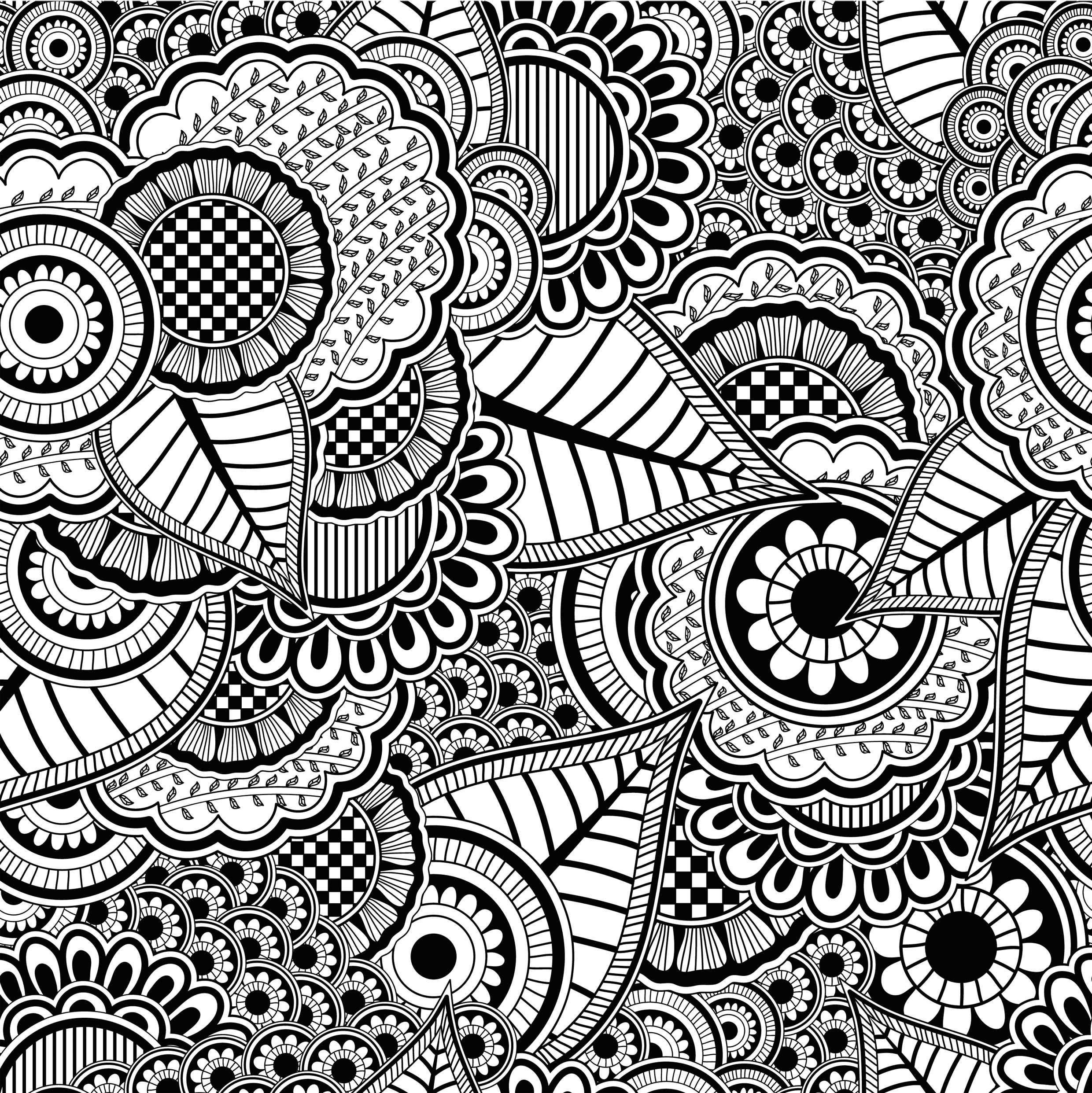 coloriage anti stress noir et blanc