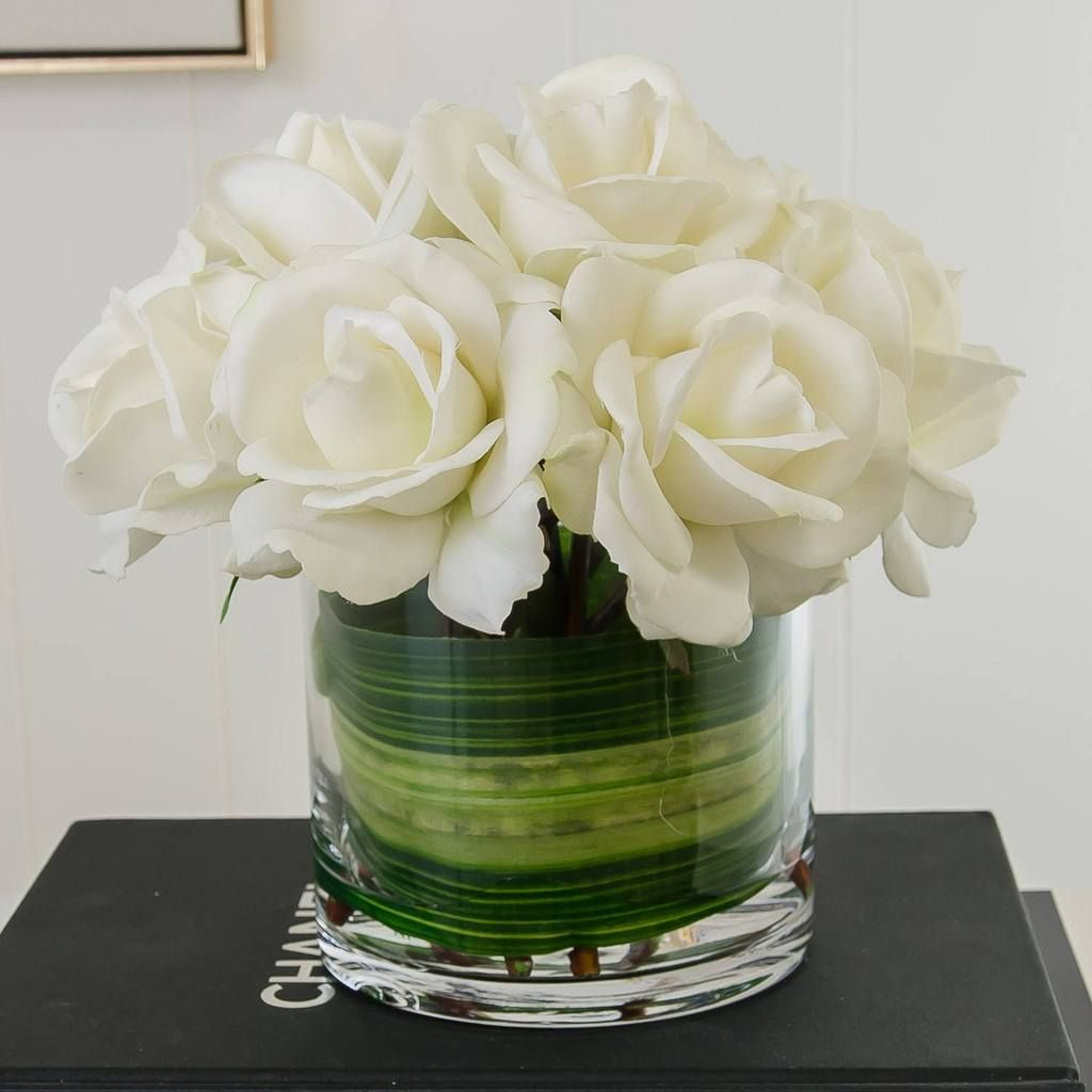 Medium White Real Touch Rose Arrangement With Images