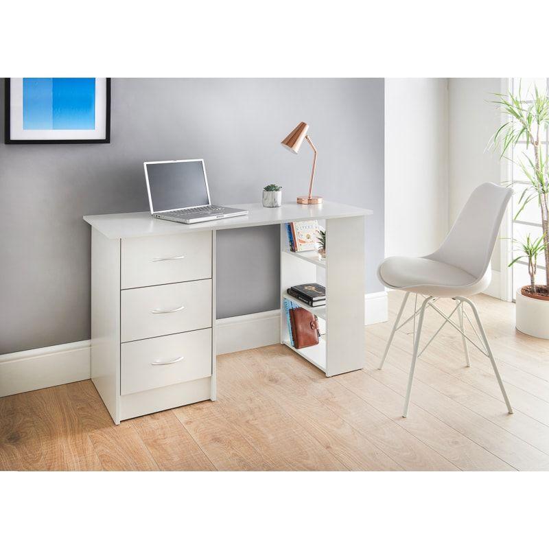 Lokken 3 Drawer Desk Shelves Desk With Drawers Desk Desk Shelves