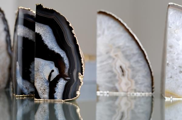 Plated Agate Amethyst Crystal Geode Stone Bookend Accessory