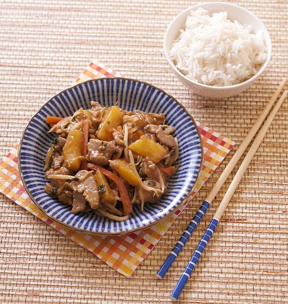 Wok de porc à l'ananas sauce aigre-douce - Recettes de cuisine Ôdélices