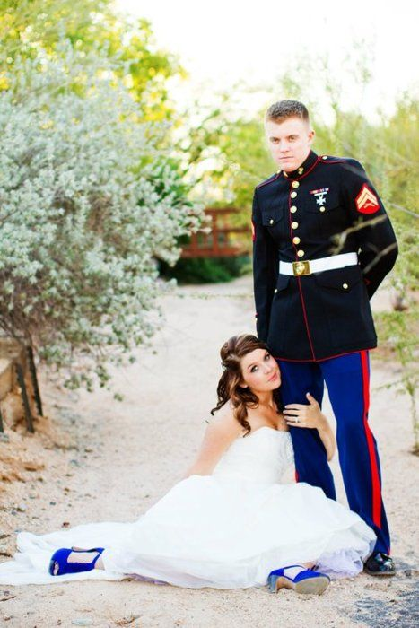Marine Wedding Picture Love The Matching Shoes