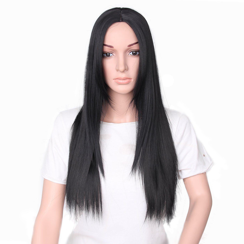 66cm Women Natural Center Parting Long Straight Black Hair Wig