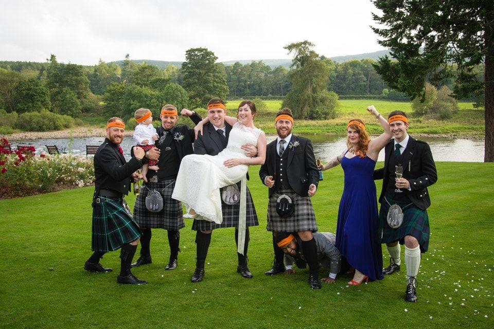 Banchory Lodge Wedding Bride Groom Group Shot Riverside Woodland