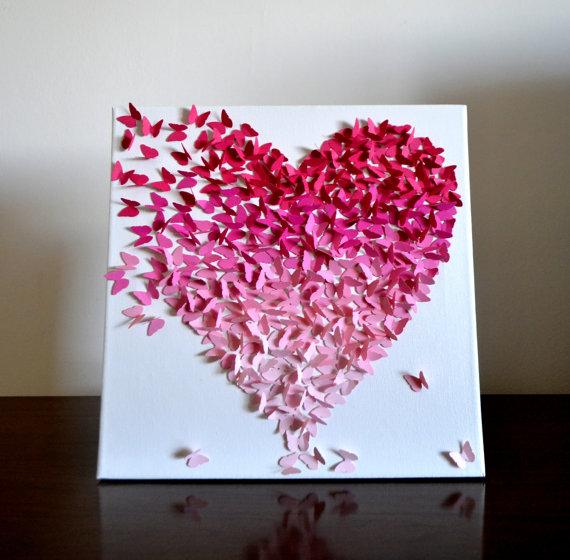 ombre classique papillon coeur rose 3d papillon art mural mariage emilie david pinterest. Black Bedroom Furniture Sets. Home Design Ideas