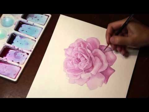 How To Draw And Paint A Red Rose With Watercolors Youtube