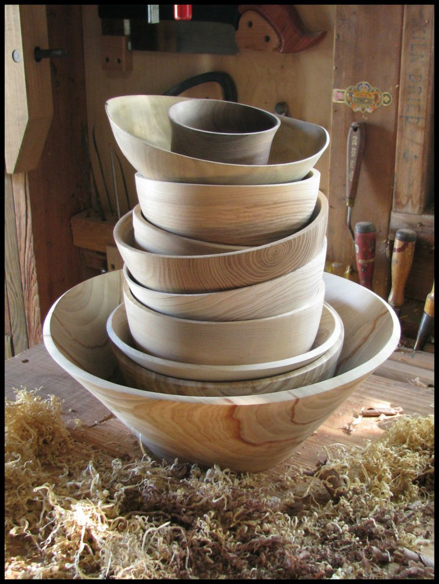 wooden stacked bowls