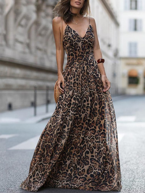 Online Shopping JustFashionNow V neck Brown Women Prom Dress Swing Dress  Spaghetti Basic Chiffon Paneled Leopard Print Dress 6c6225668