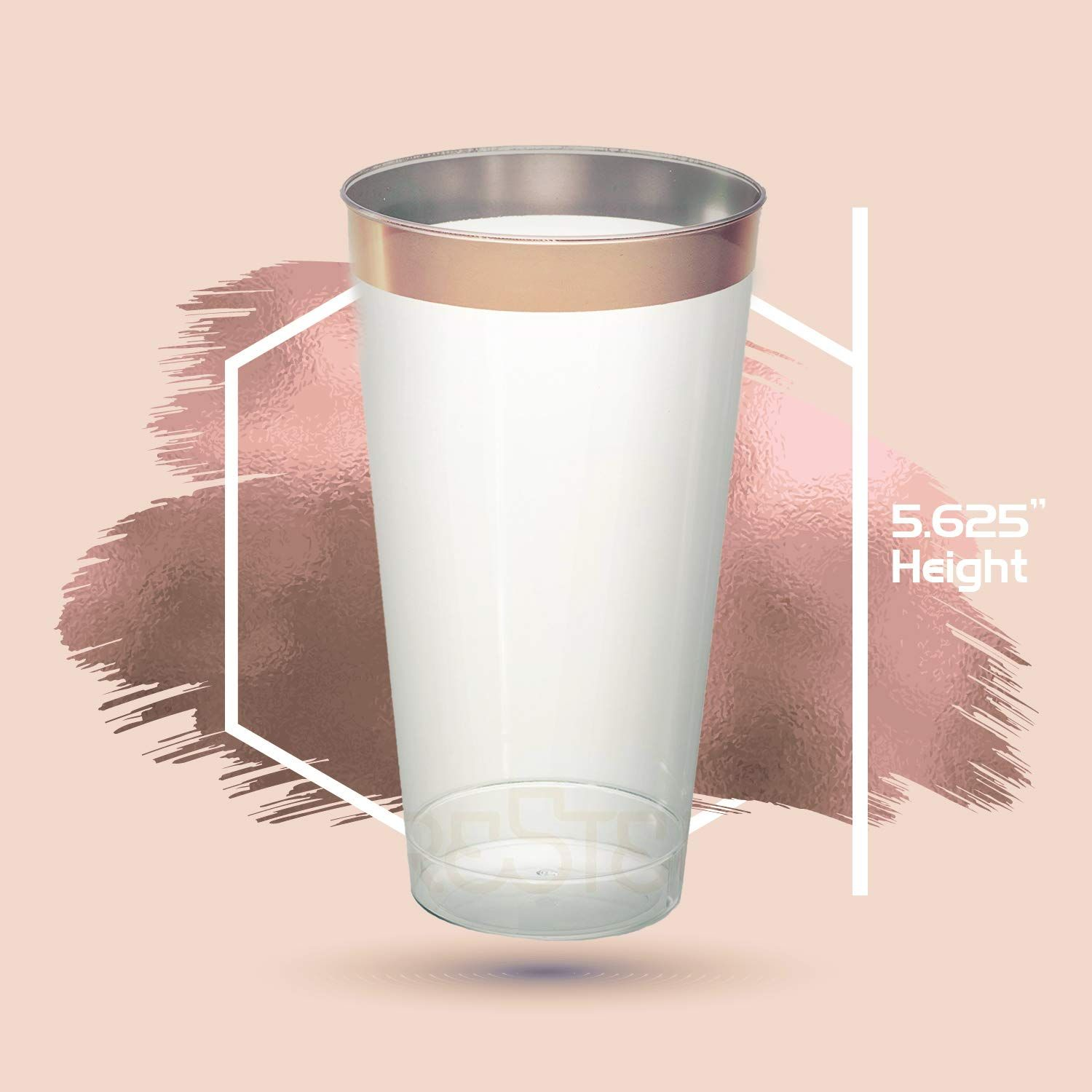 Golf Wedding Rose Gold Plastic Cups 16 Oz 50 Pack Hard Clear Plastic Cups Disposable Party Cups Fancy Plastic Tumblers Rose Gold Rims Wedding Tumblers