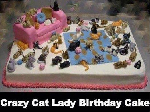 Astonishing Crazy Cat Lady Birthday Cake My Next Cake For Sure Haha With Funny Birthday Cards Online Elaedamsfinfo