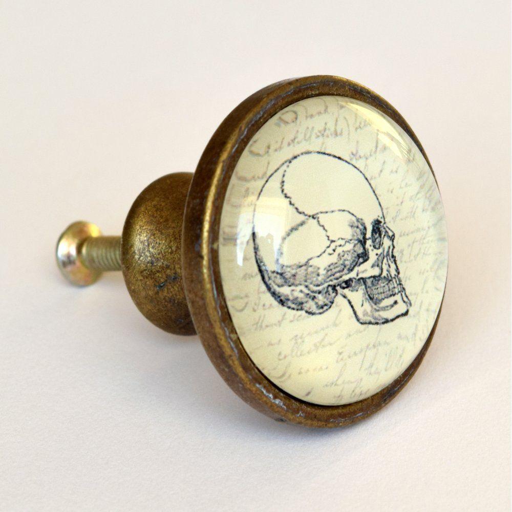 Skull Drawer Knob Quirky Vintage Style Brass Cupboard Door Knobs