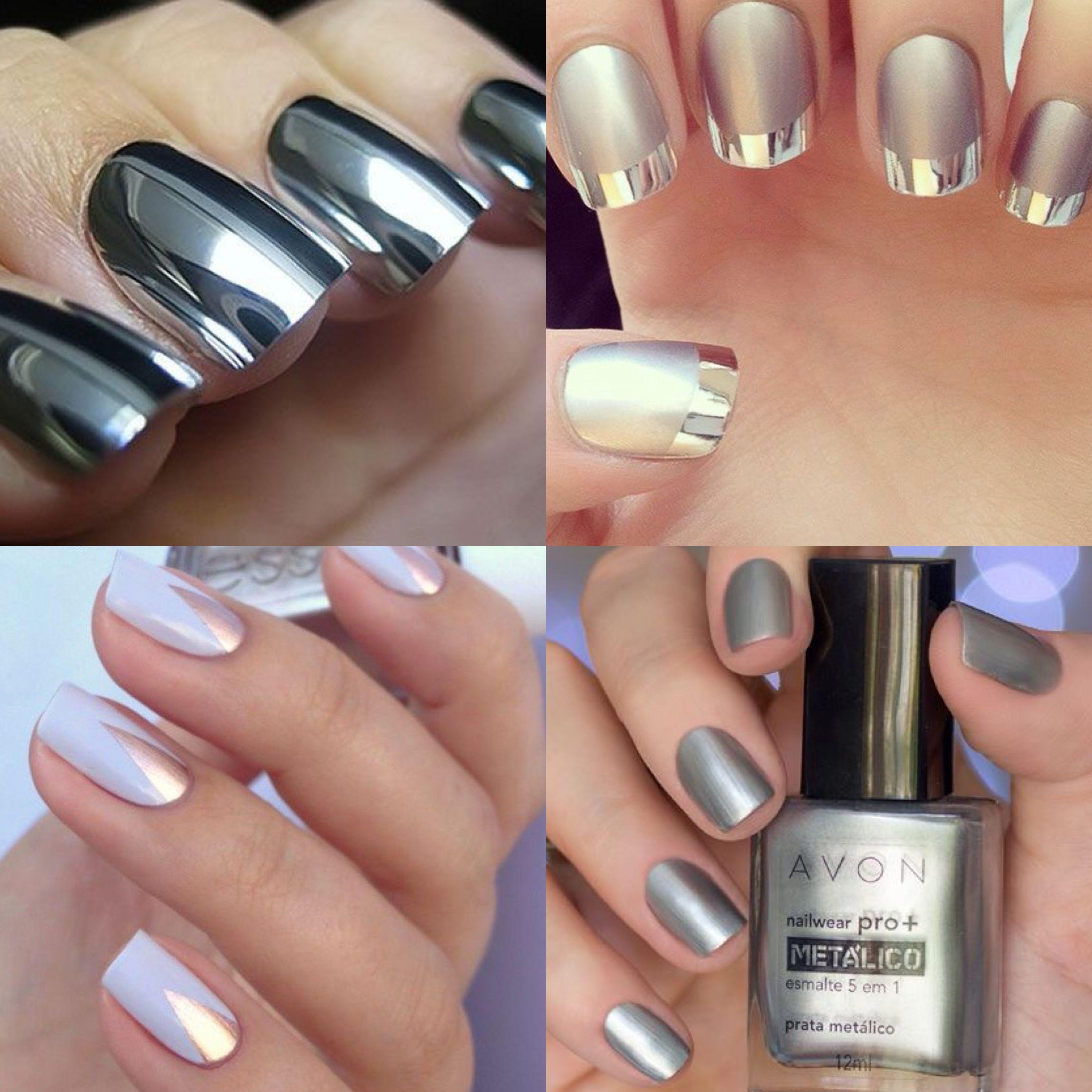 Tendência: Metalizados - tendência, metalizado, unha, esmalte, prata,  silver, metallized, metalizada. | Esmalte de unhas, Unha, Esmalte