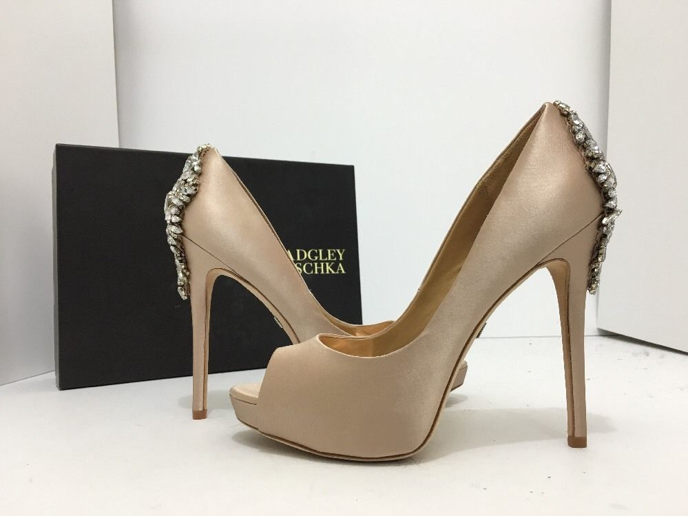 2c6bb6412f61 Badgley Mischka Kiara Latte Satin Women s Evening Platform Heels Pumps Size  8 M…