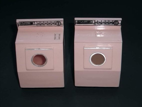 Laundry Vintage Pink Washer And Dryer Salt And Pepper By Greenoliveshop Pink Plastic Vintage Pink Washer And Dryer
