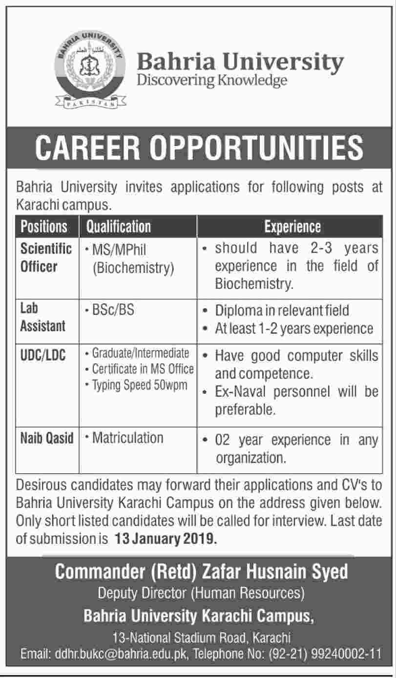 Bahria university karachi jobs 2019 | jobs in pakistan | Jobs in