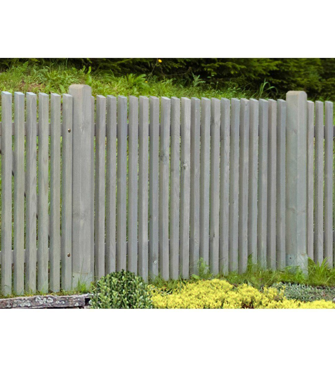 Staketenzaun Mainau Hellgrau Lasiert 180 Cm X 100 Cm Kaufen Bei Obi Zaun Garteneingang Vorgarten