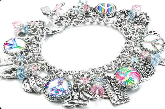 Peace Bracelet Silver Peace Sign Jewelry World Peace Etsy Charm Bracelet Peace Sign Jewelry Jewelry
