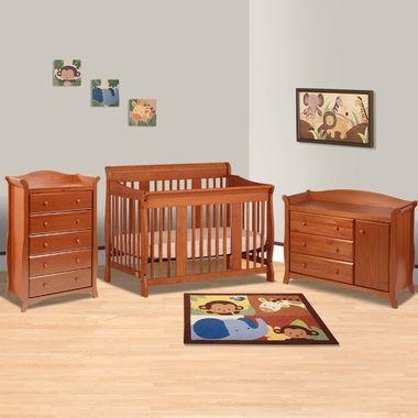 Storkcraft Cognac Tuscany Convertible Crib Aspen Combination Changer Dresser 5 Drawer 3 Piece Nursery Set Free Shipping