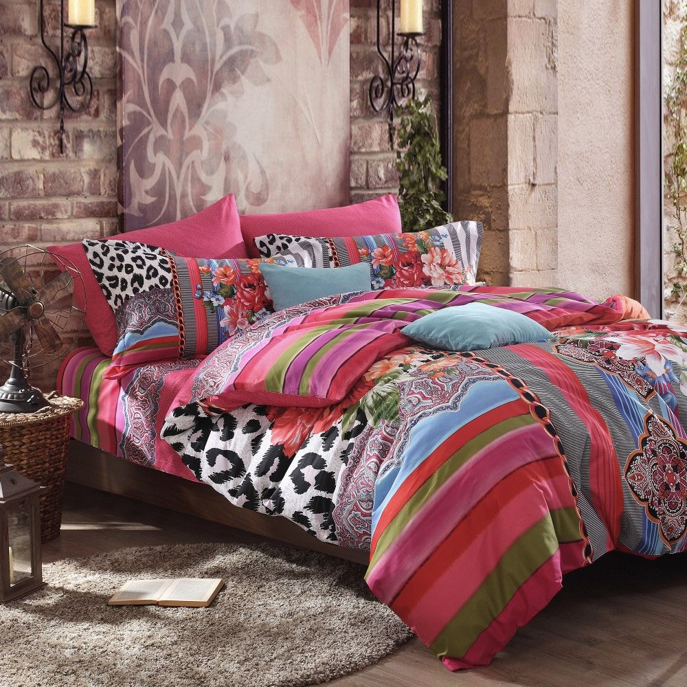 f05a97b8b9 Black White and Red Sexy Leopard Print Bright Colorful Stripe and Floral  Pattern Modern Chic Full, Queen Size Bedding Sets - EnjoyBedding.com