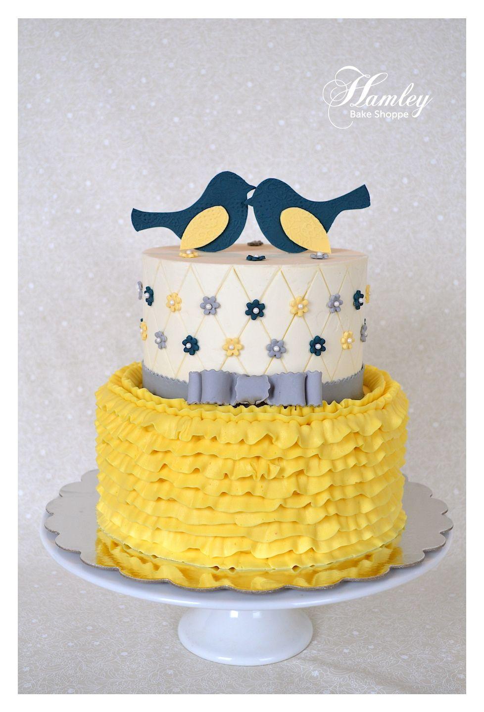 Shabby Chic Bridal Shower Cake (Navy, Yellow, and Blue)   bridal ...
