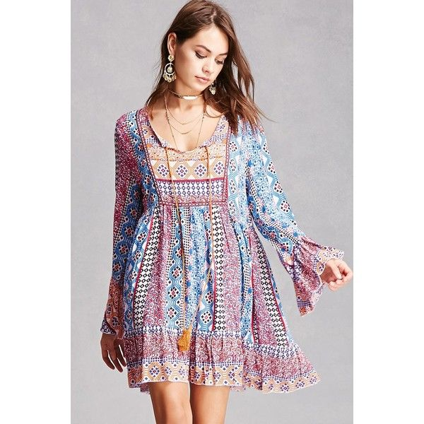 93f931fde746 Forever21 Velzera Abstract Peasant Dress (€34) ❤ liked on Polyvore  featuring dresses, bell sleeve dress, forever 21 dresses, short boho dress,  bohemian ...