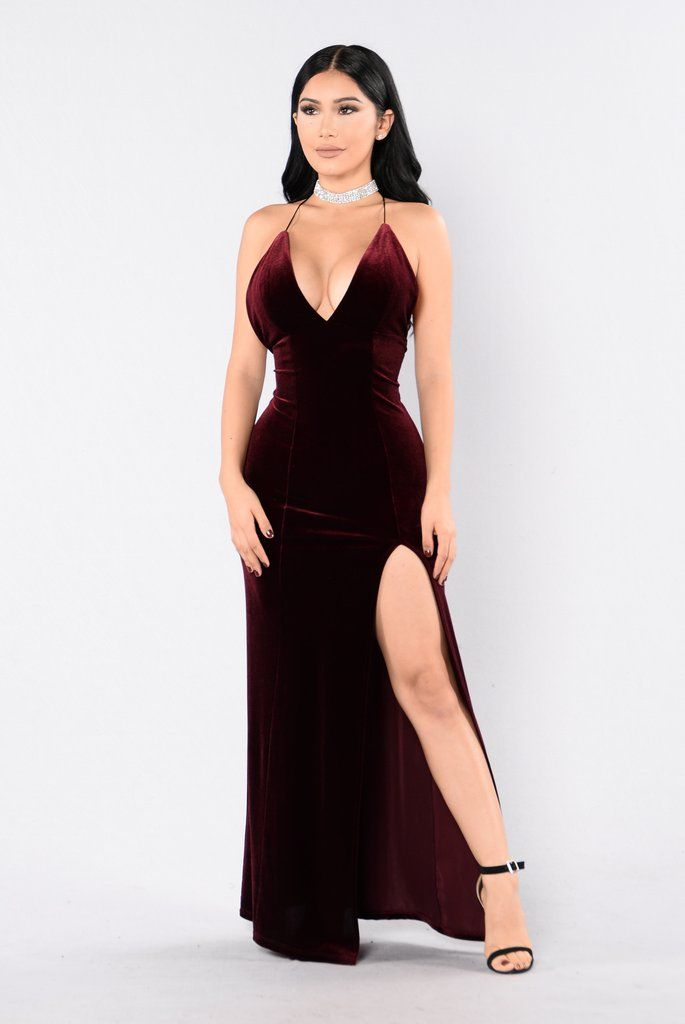 - Available in Burgundy and Hunter Green - Velvet Maxi Dress - Front Slit - Spaghetti Straps - Criss Cross Back - 95% Polyester 5% Spandex