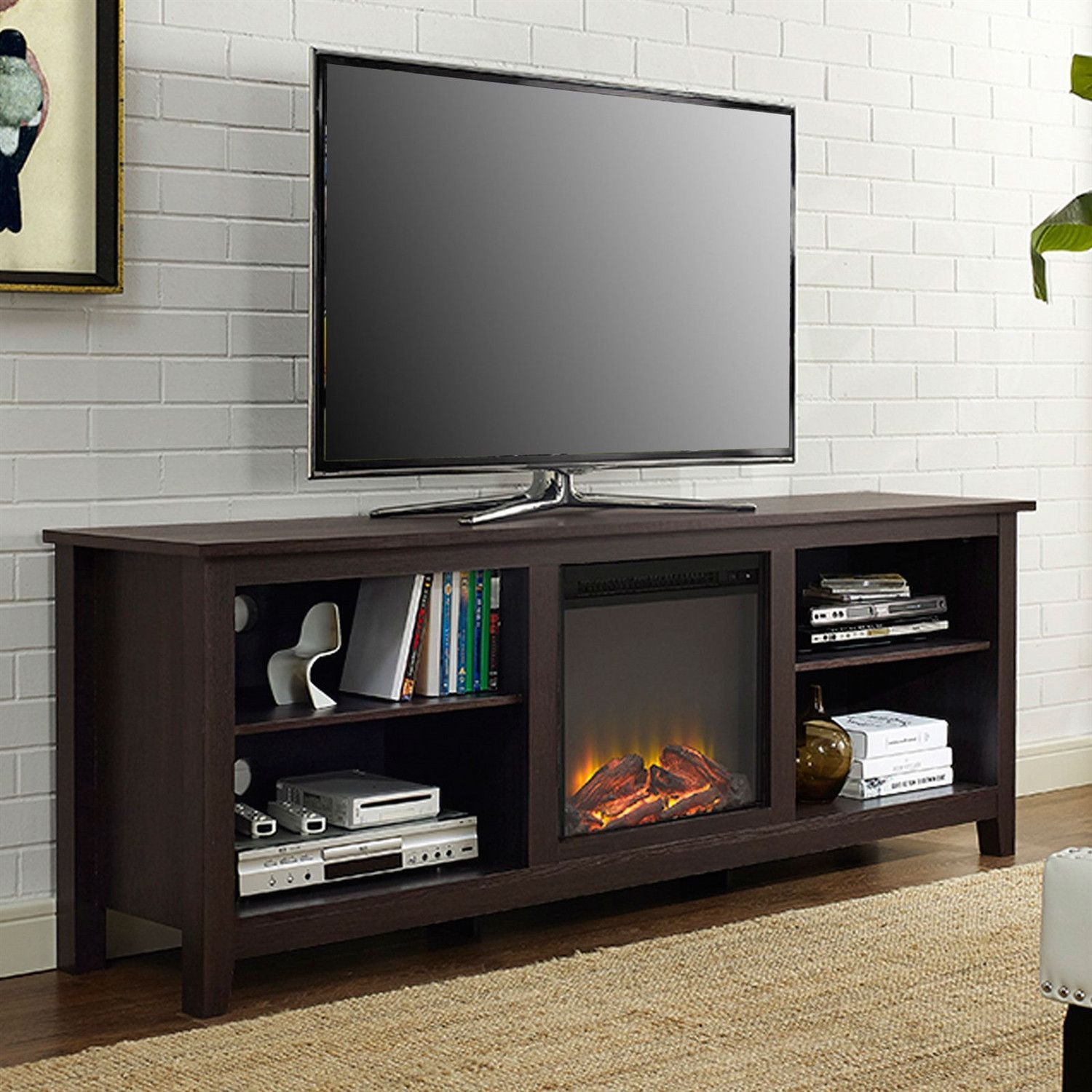 Espresso 70 Inch Electric Fireplace Tv Stand Space Heater Electric