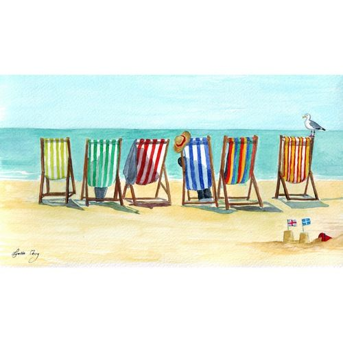 Stripy Deck Chairs By Lynette Merry Seaside Art Beach Painting