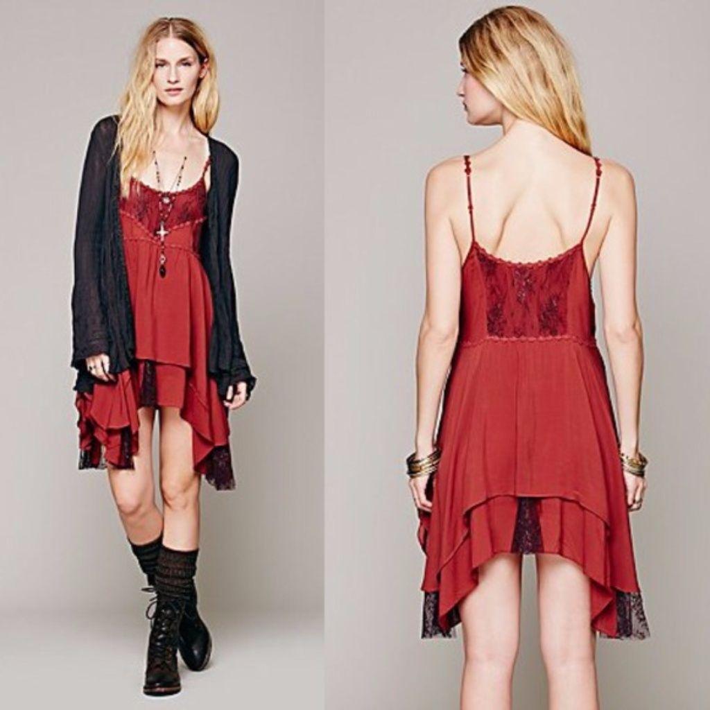 Lace dress gray  Sale Free People Cayenne Red Pieced Lace Slip Xs  Lace slip Free