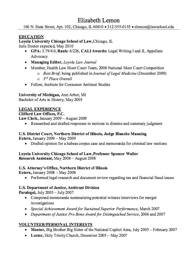 Clerkship Resume Samples RESUMESDESIGN Chicago school