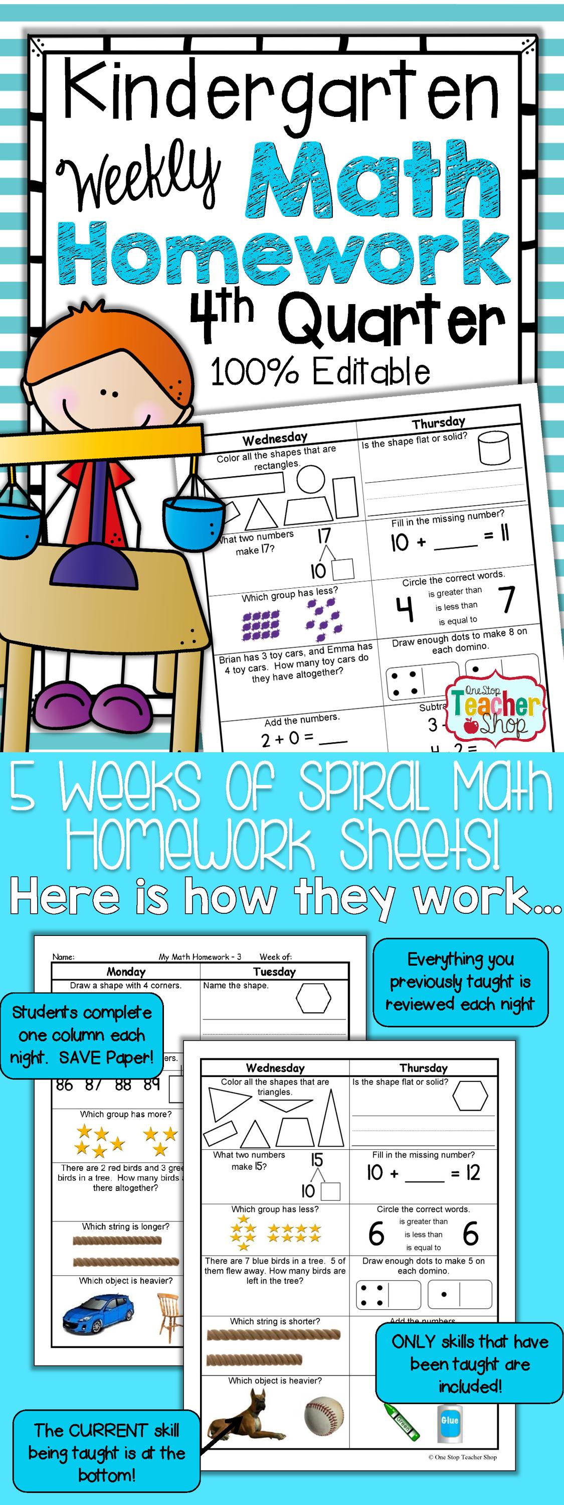 Kindergarten Math Review | Homework or Morning Work | 4th Quarter ...