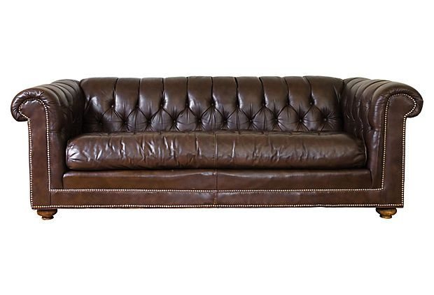 Enjoyable Bernhardt Leather Chesterfield Sofa Midcentury Dark Brown Gmtry Best Dining Table And Chair Ideas Images Gmtryco