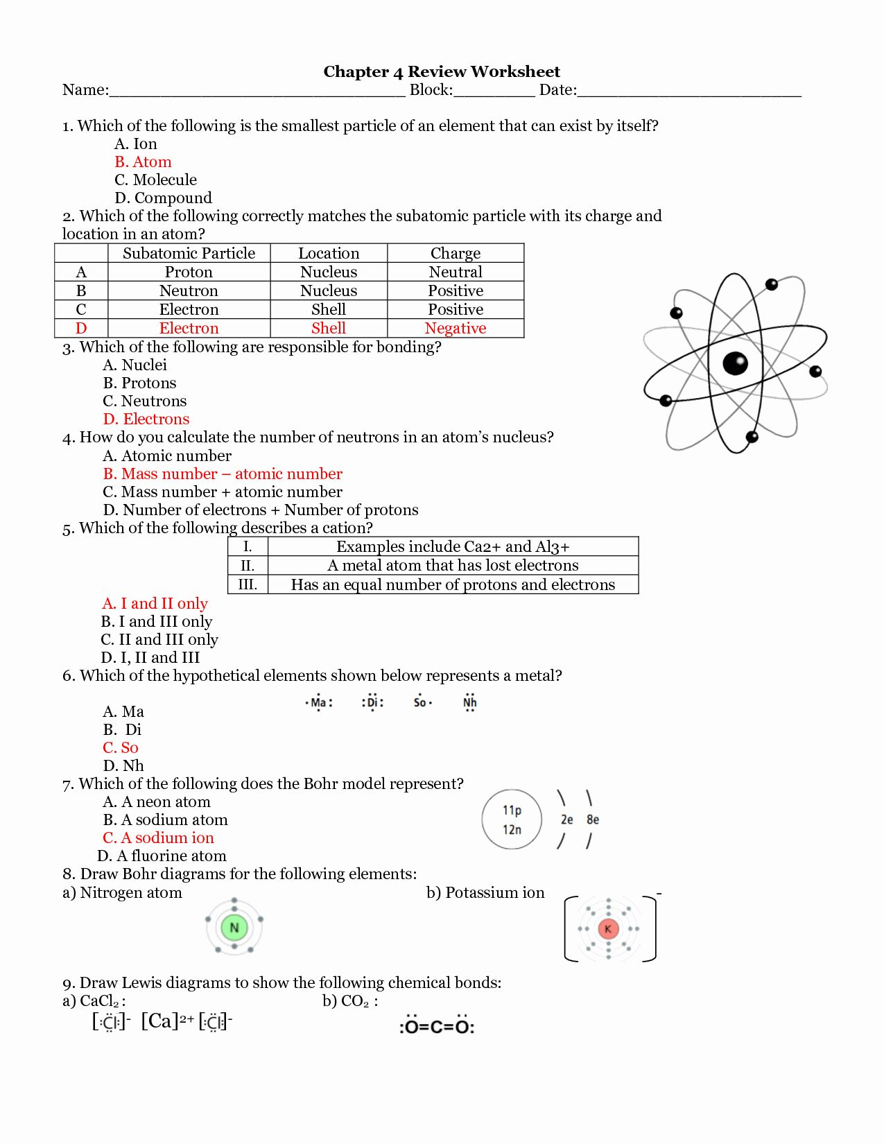 50 Atoms And Ions Worksheet Answers In