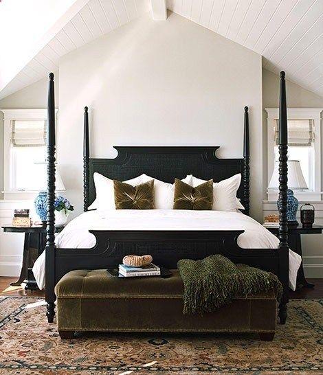 Black Four Poster Bed Cream Walls White Beadboard Ceiling White