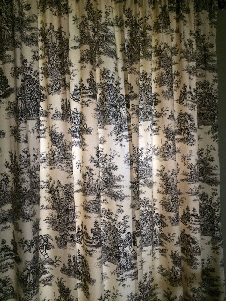 Cream Toile D Panels Curtains, Black Toile Curtains