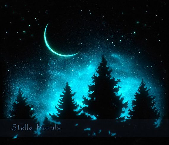 Night Sky Wall Decor Glow In The Dark Poster Optional Starry Glow Stickers Night Sky Painting Dark Paintings Sky Painting