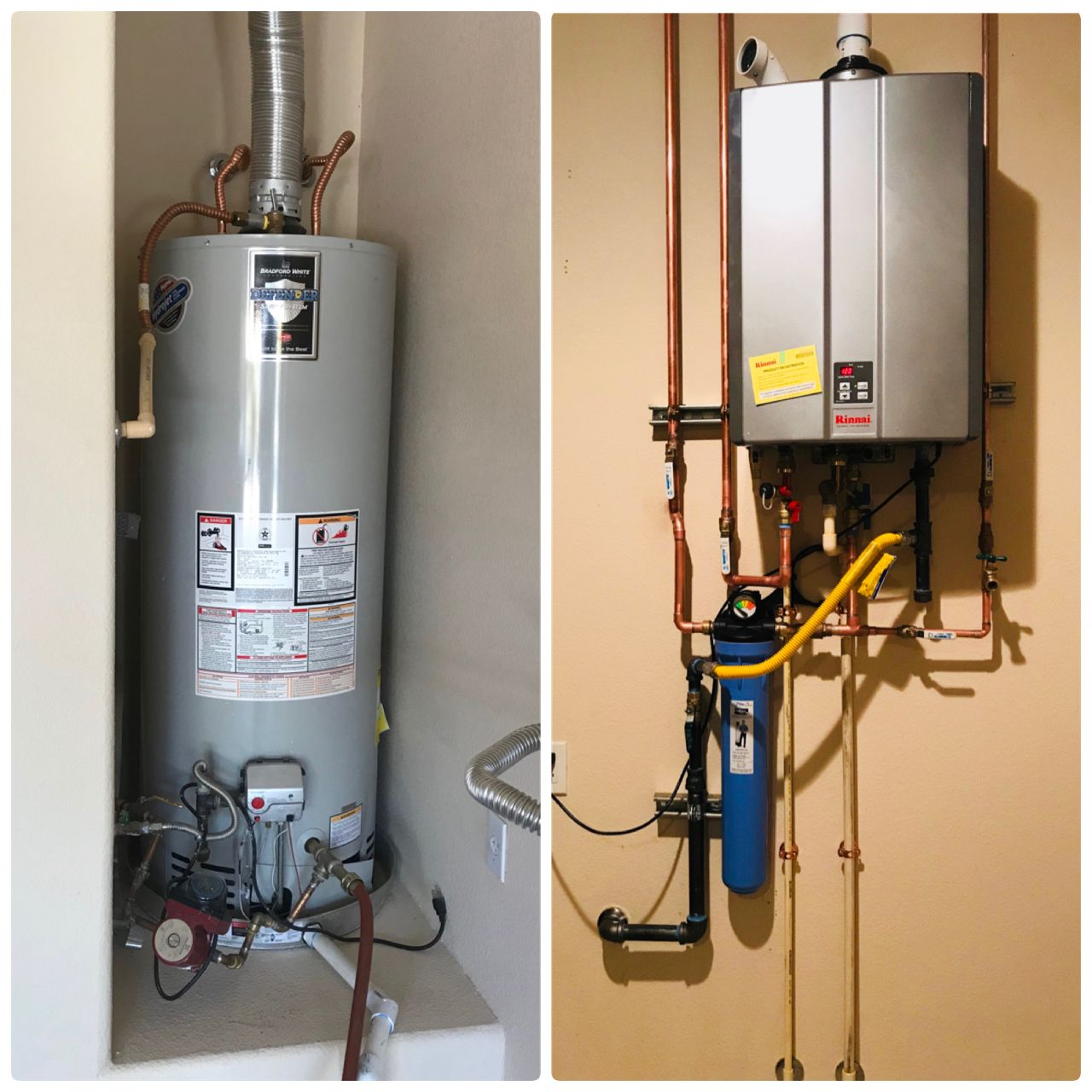 The Best Comparison Between A Regular Tank Water Heater To A Rinnai Tankless Get Your Endless Supply Of Hot Water E Tankless Water Heater Water Heater Heater