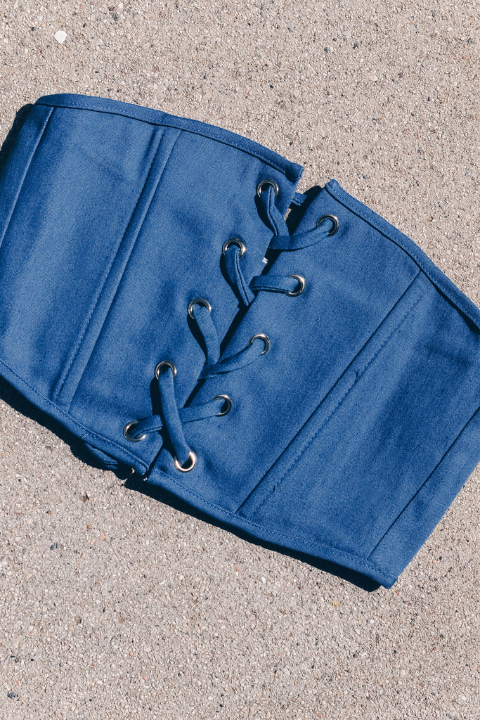 Medium blue denim lace up corset belt #corsets #lacedup #trending #kyliejenner #streetstyle