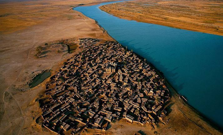 Village on the bank of the Niger river, Mali