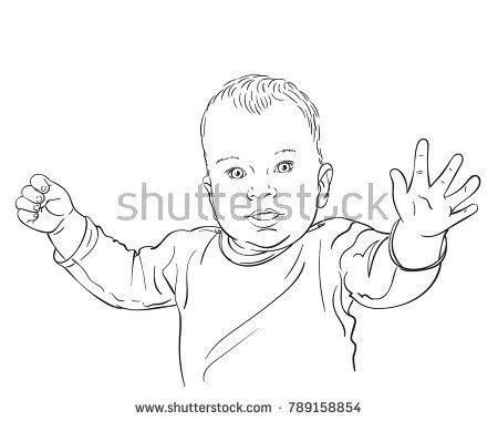 Sketch Of 10 Months Old Baby Boy With Open Mouth Pulls Hands For Hug