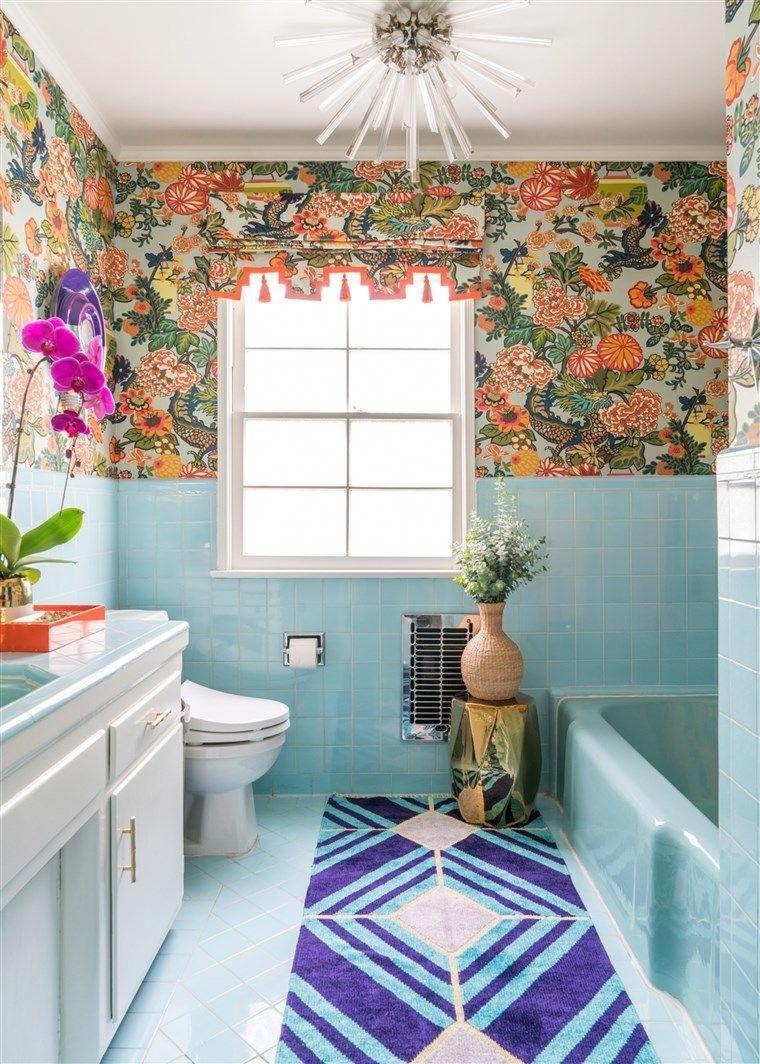 Blue tile wallpaper bathroom #bathroomtiles | Decoração ...