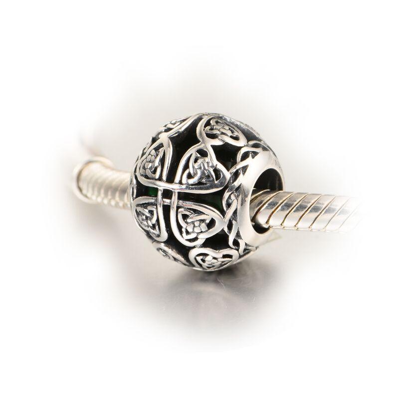 Glass & Silver: Irish Celtic Shamrock - Dark Green Bead Compatible with Pandora, Chamilia, Ohm, Troll, etc. #irish #celtic #charm #bead #irishcharm #irishbead #celticcharm #celticbead #irishluck #shamrockcharm #irishshamrock #celticknot #celticknotcharm compatible with #Pandora, #chamilia, #ohmbeads, #troll etc.