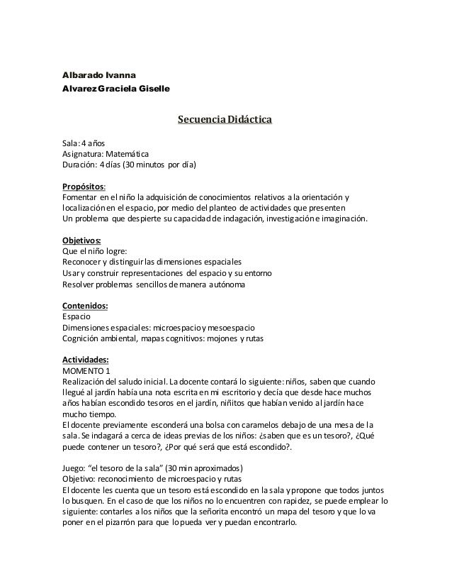 Albarado Ivanna Alvarez Graciela Giselle SecuenciaDidáctica Sala - hse officer sample resume