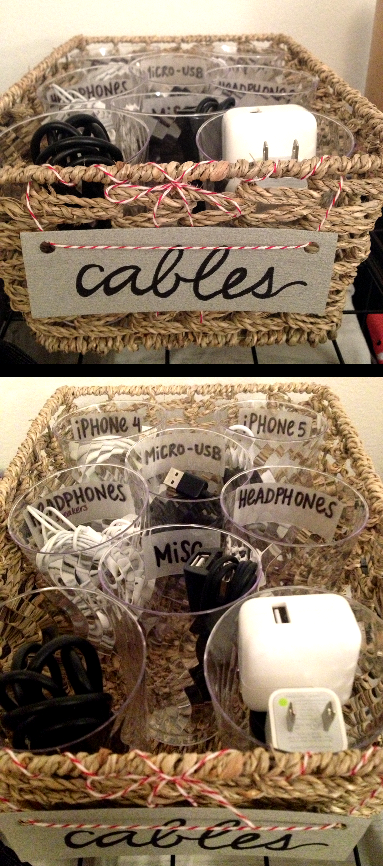 Cable organizer using plastic cups and a basket.