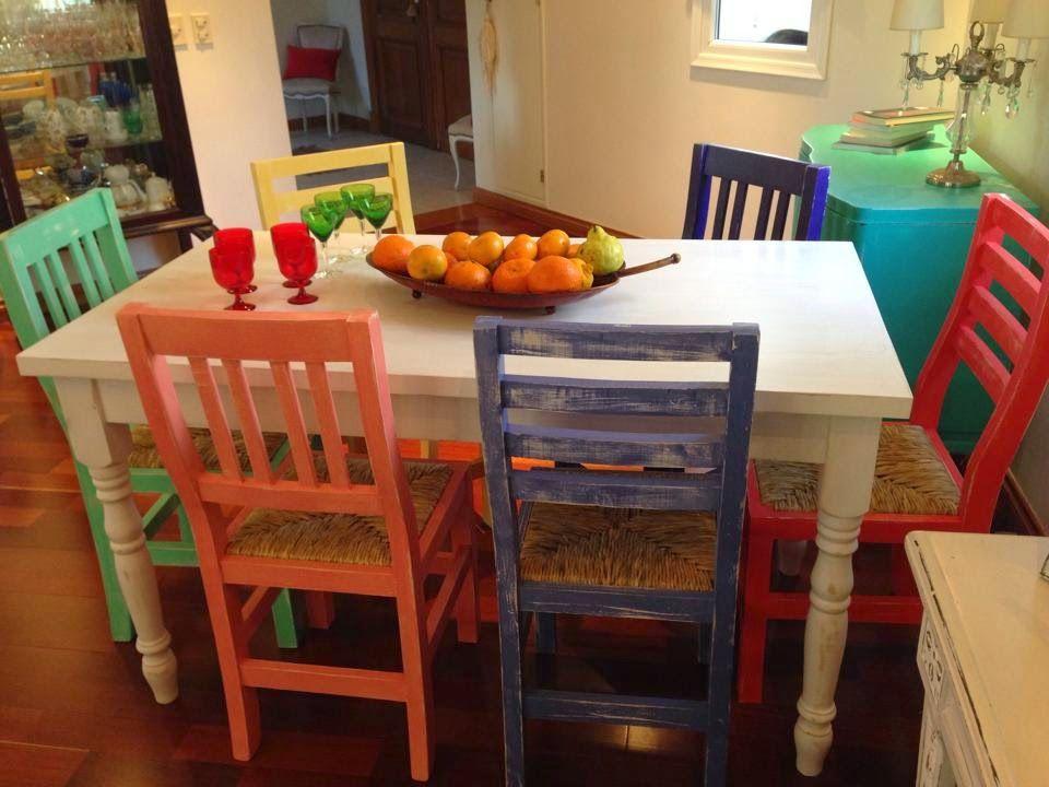 Vintouch muebles reciclados pintados a mano mesa for Muebles reciclados