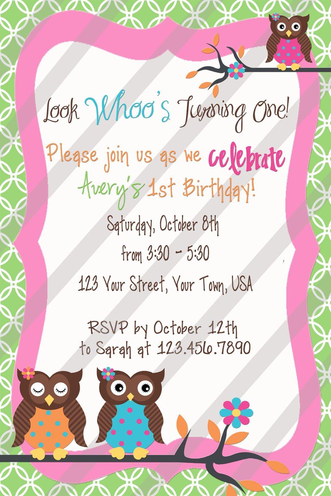 Girly Owl Invitation | Past Birthday Parties | Pinterest | Owl ...