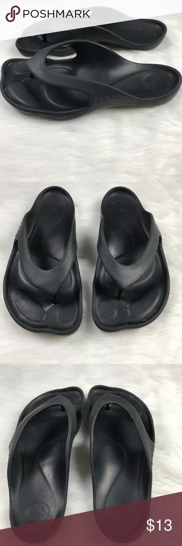 1e072d678e00 Crocs Black Basic Flip Flops Arch Foot Support Crocs Women s Black Basic  Flip Flops Size 8 Arch Foot Support Slide On Rubber Flip Flop is slip on